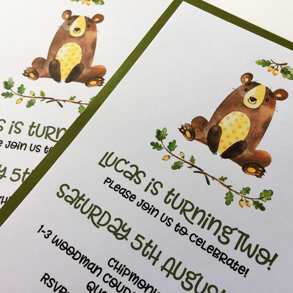 Dolkens Invitations Other Events Woodland Bear Children's Birthday Invitation