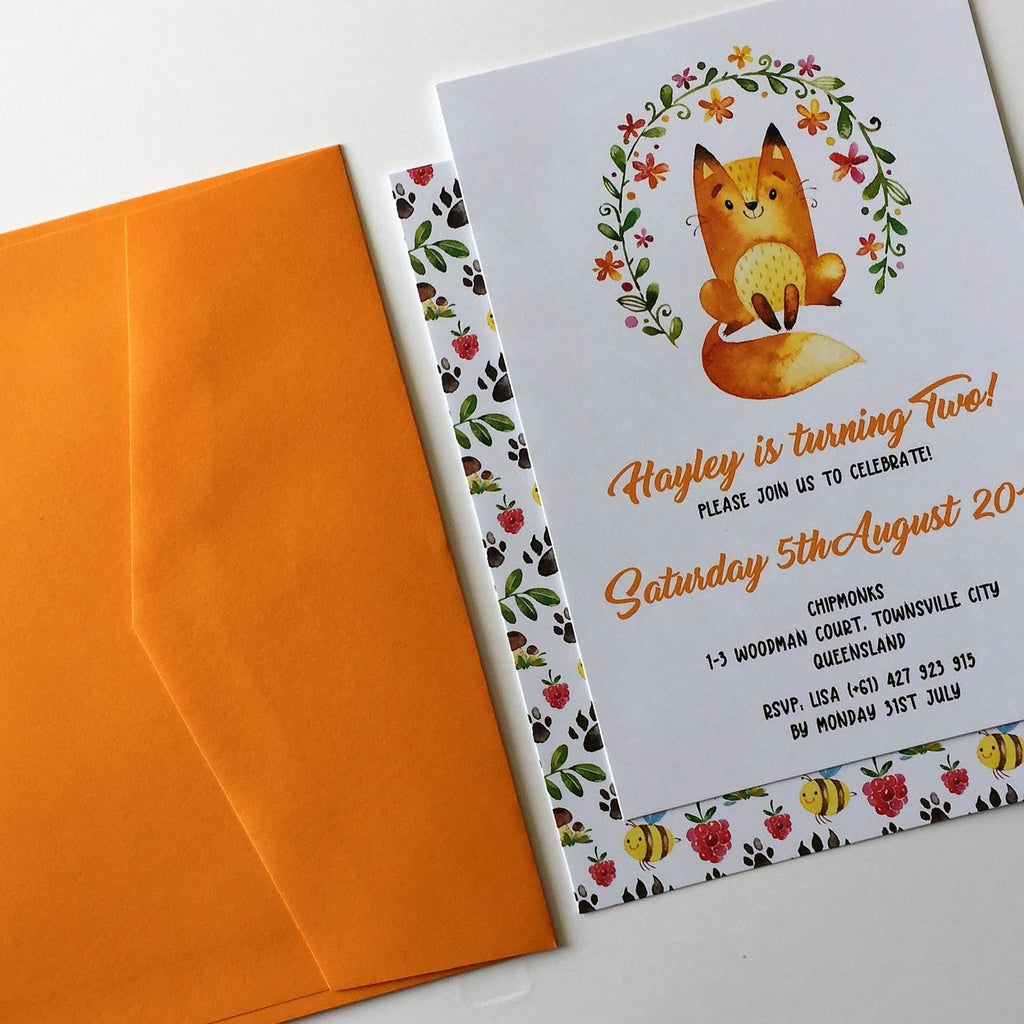 Dolkens Invitations Other Events Woodland Fox Children's Birthday Invitation