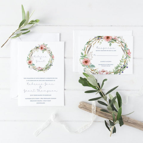 Dolkens Invitations Wedding Stationery Classic Floral Wedding Invitation Suite