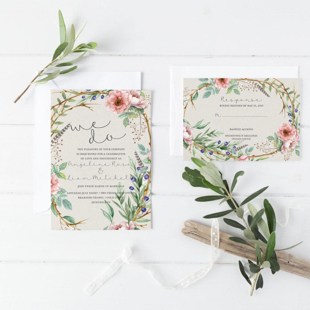 Dolkens Invitations Wedding Stationery Garden Elegance Wedding Invitation Suite