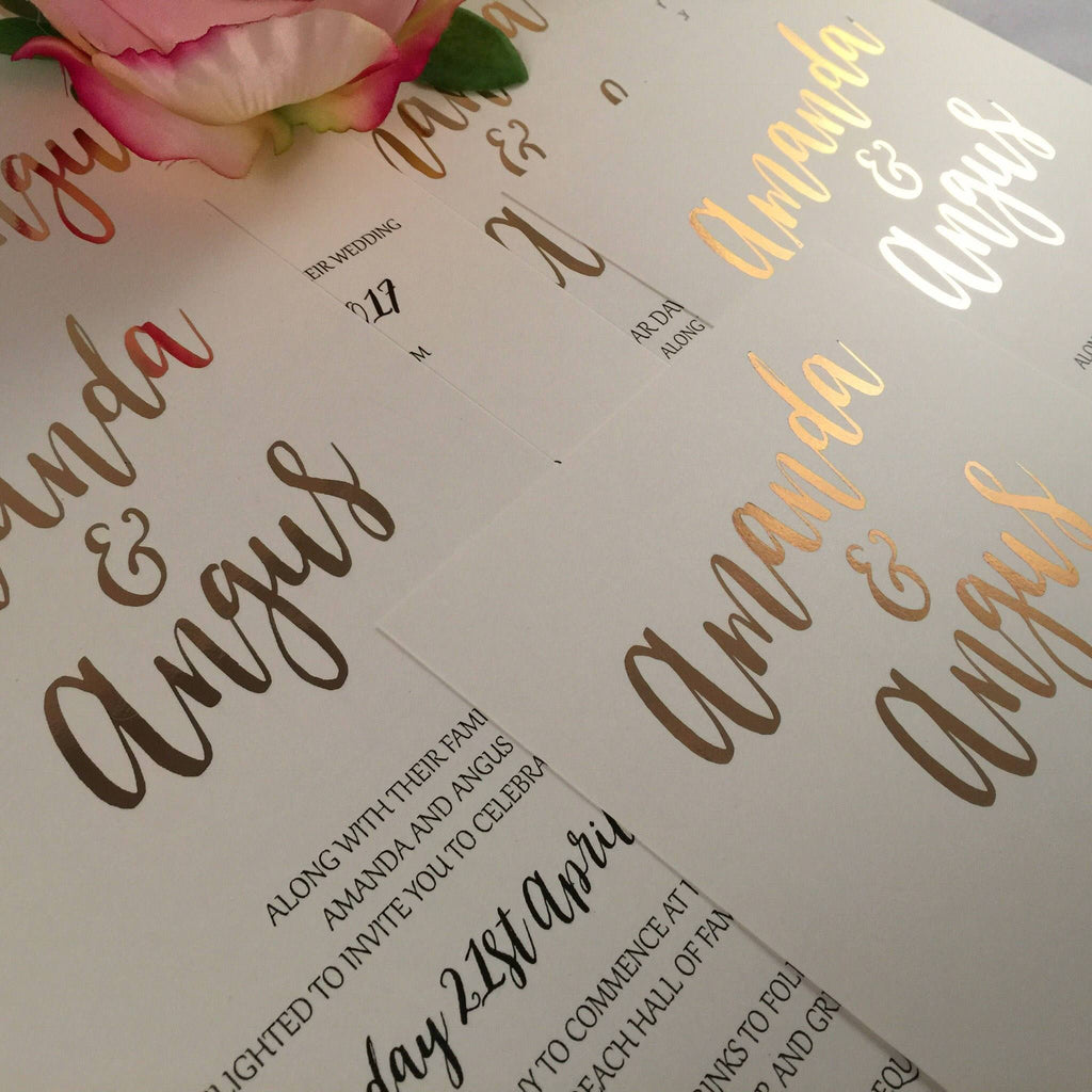 Dolkens Invitations Wedding Stationery Real Rose Gold Foil Wedding Invitation Suite