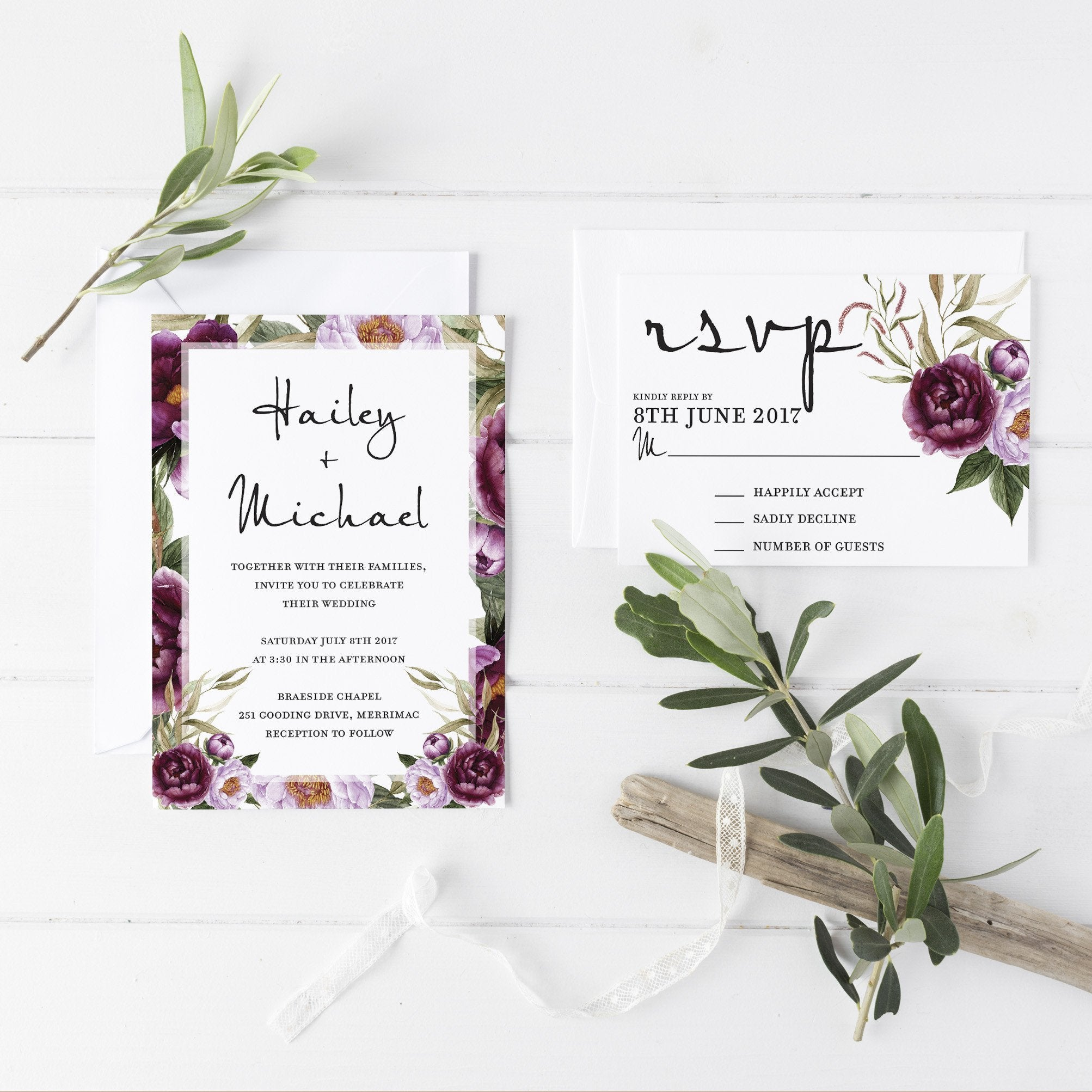 Romantic Garden Wedding Invitation Suite | Dolkens Invitations