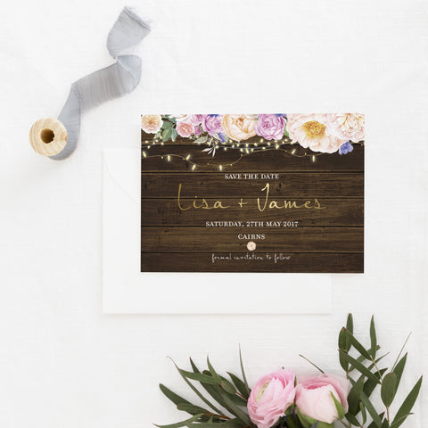 Dolkens Invitations Wedding Stationery Rustic Flowers Save the Date