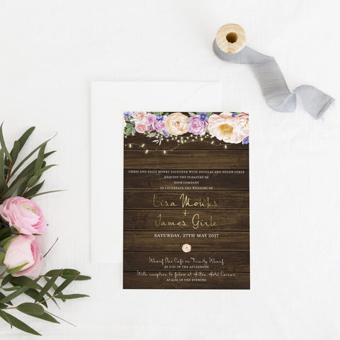 Dolkens Invitations Wedding Stationery Rustic Flowers Wedding Invitation