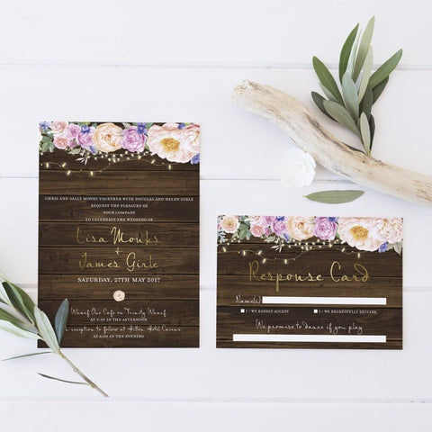 Dolkens Invitations Wedding Stationery Rustic Flowers Wedding Invitation Suite