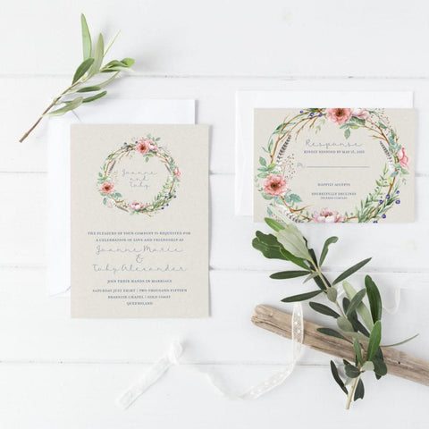 Dolkens Invitations Wedding Stationery Shabby Chic Wedding Invitation Suite