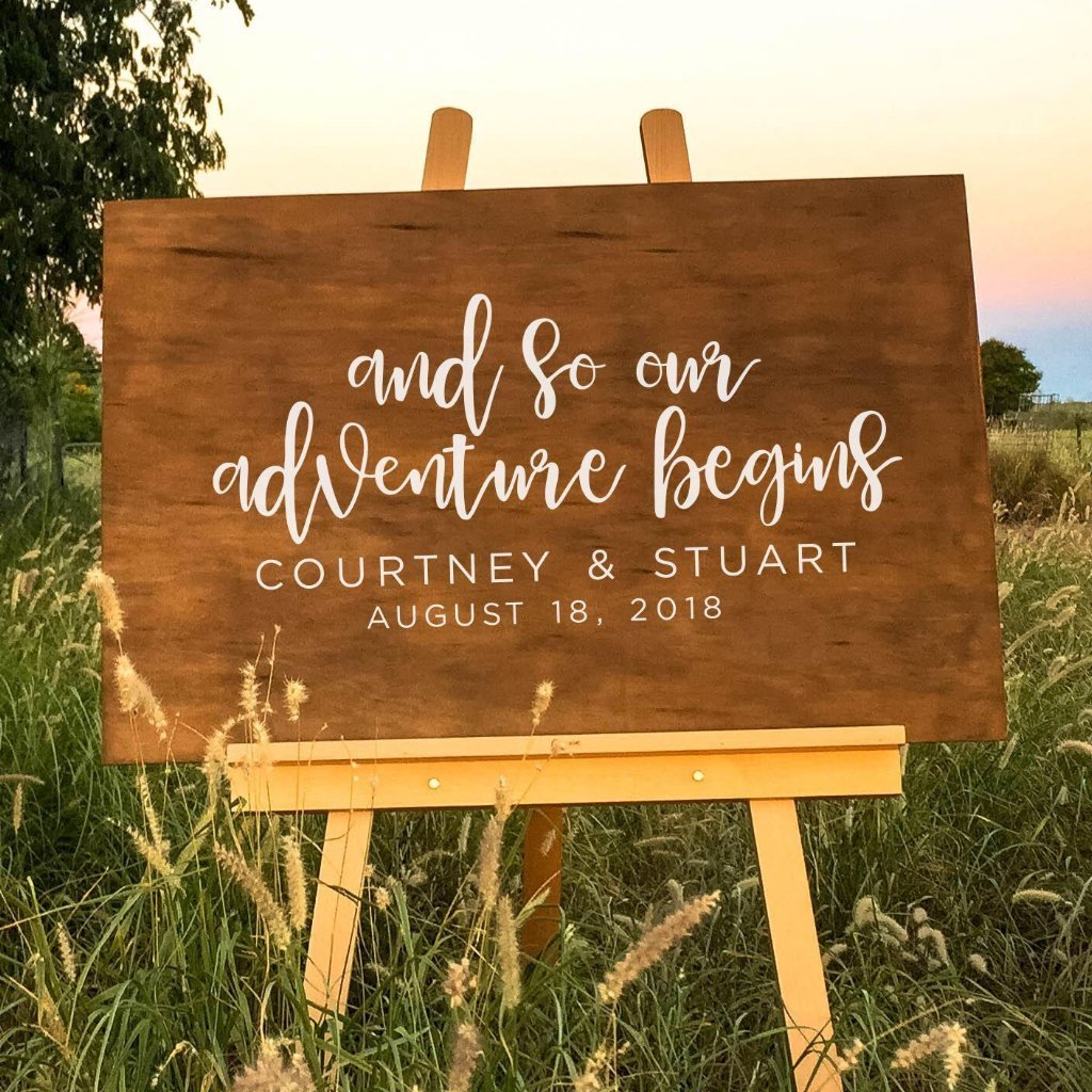 Adventure begins wooden wedding welcome sign dolkens invitations dolkens invitations wooden signs and so our adventure begins wooden wedding sign junglespirit Choice Image