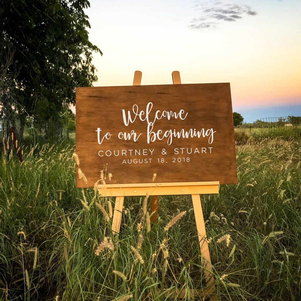 Dolkens Invitations Wooden Signs Welcome to our beginning Wooden Welcome Sign