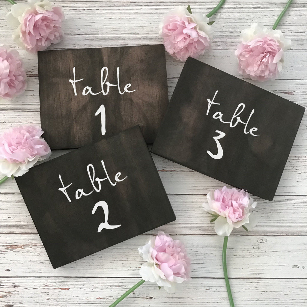 Wooden Table Numbers for Country Wedding | Wedding Table Numbers to Suit Rustic Wedding Sign | Hand Lettered Sign for Wedding Table Decor