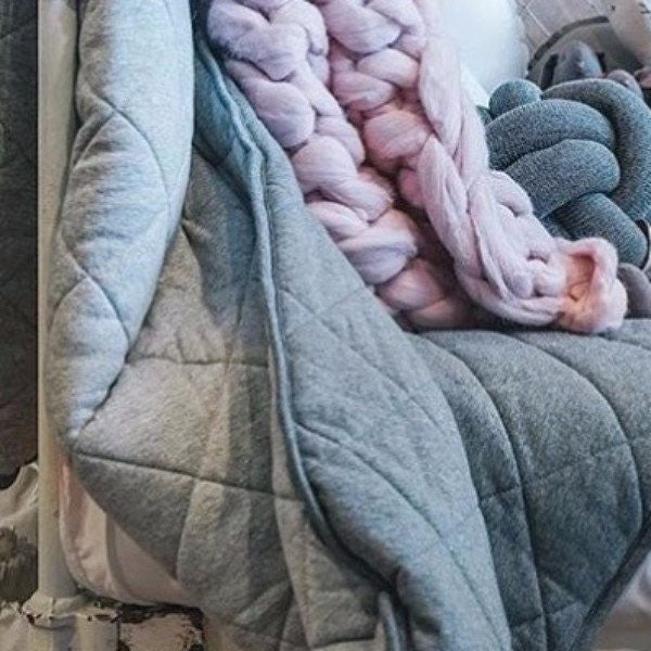 Mister Fly | Cot Quilt Reversible GREY MARLE/CHARCOAL | Shut the Front Door