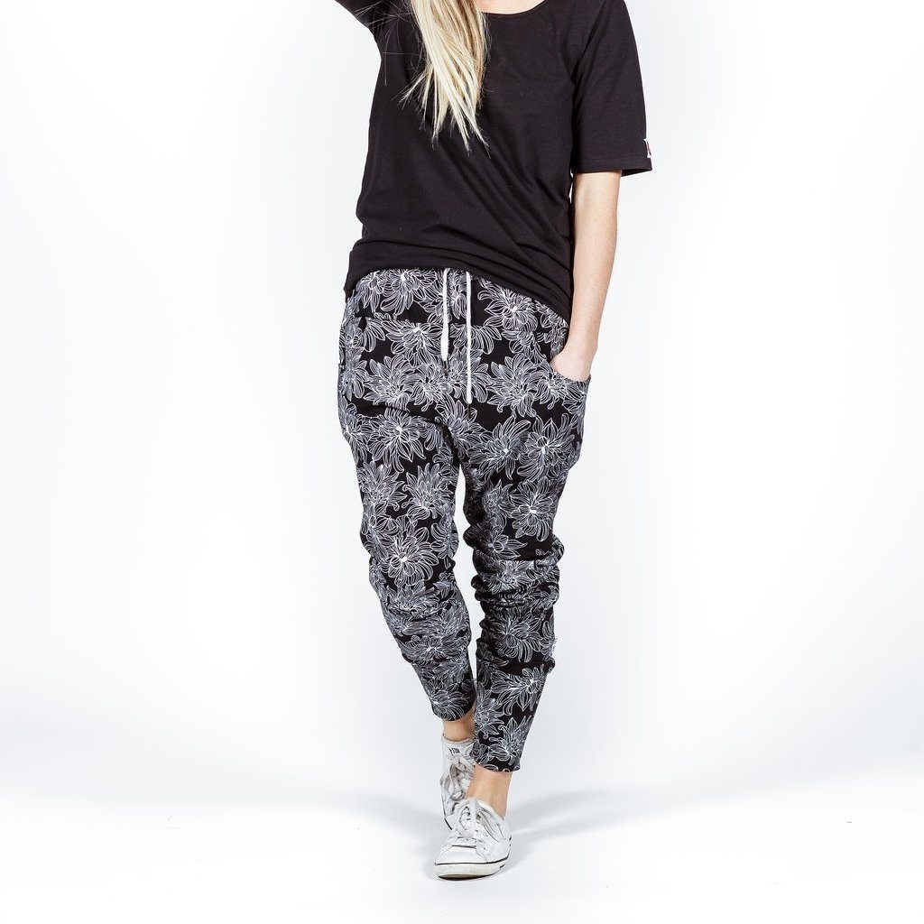 Home-lee | Apartment Pants - Black White Flower Print | Shut the Front Door