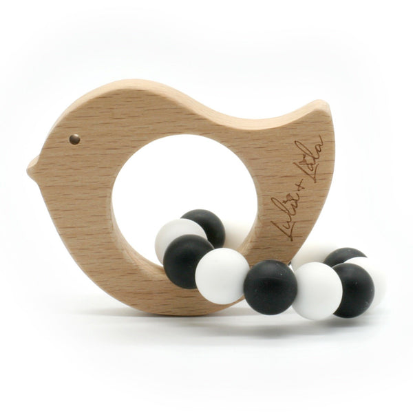 Lulu Lala | Tweet Bird - Beechwood Teething Toy - Black & White | Shut the Front Door