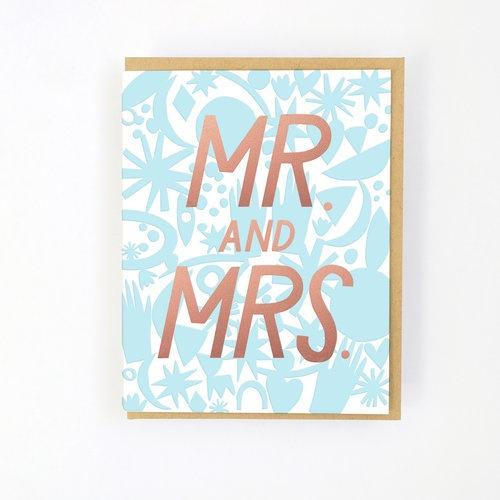 Hello Lucky | Mr & Mrs Card Blue Gold | Shut the Front Door