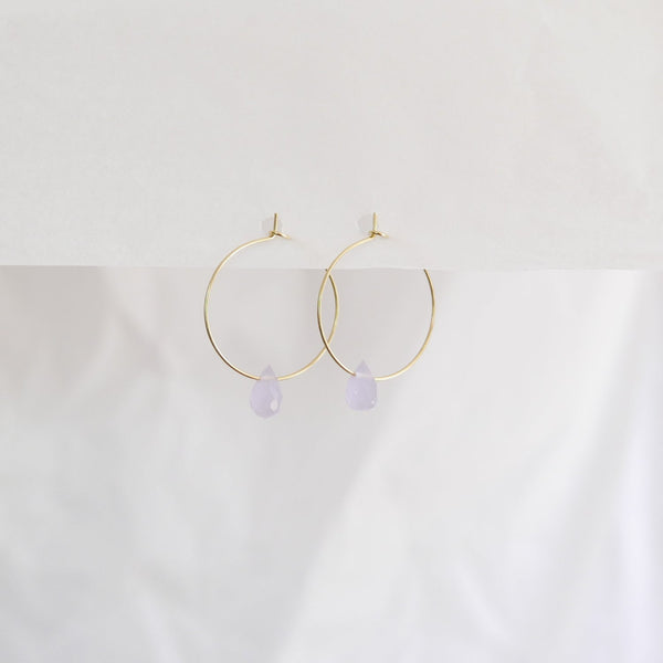 Hydrangea Ranger | Gold Hoops - Sky Blue Agate Drops | Shut the Front Door