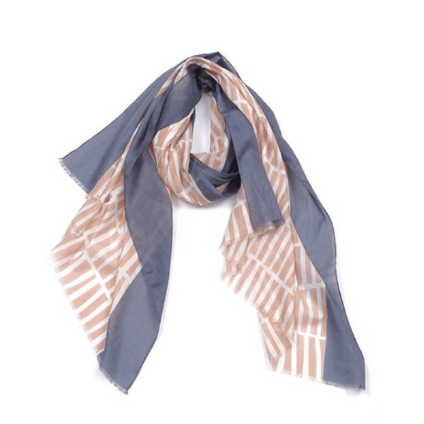 Indus Design | Indus Design Cotton Scarf Dash Salmon/Slate | Shut the Front Door