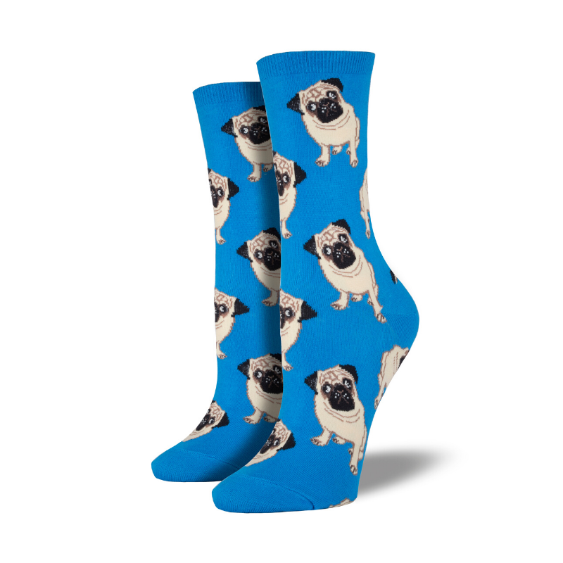 Socksmith | Women's Pugs Socks - Blue | Shut the Front Door