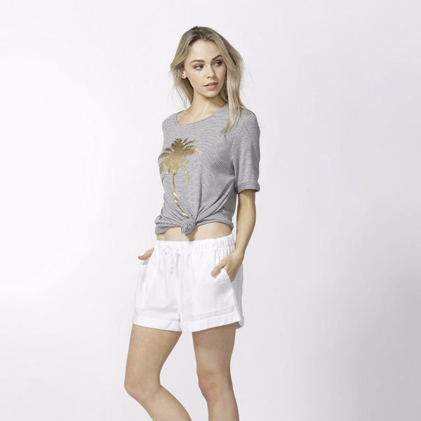 Betty Basics | Los Angeles Tee Silver Marle / Indigo Stripe | Shut the Front Door