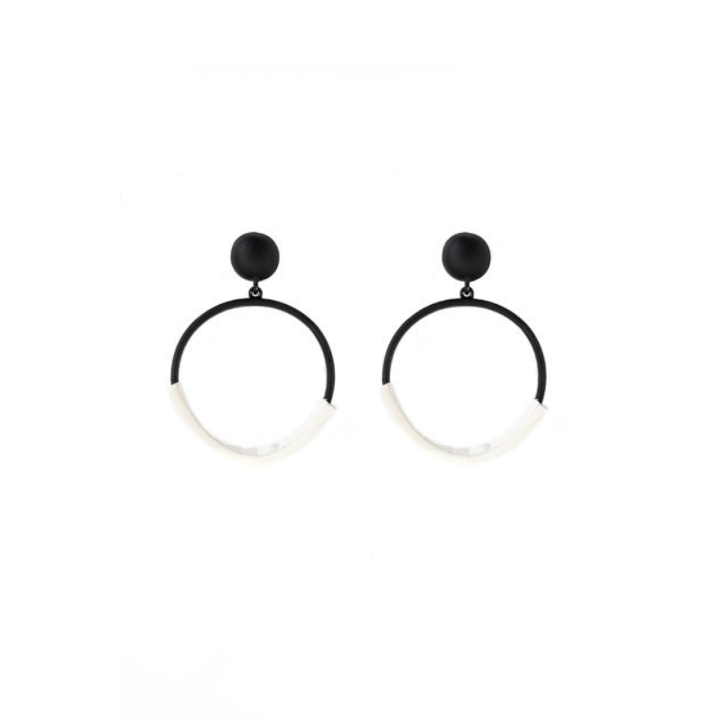 Antler NZ | Earrings Leatherette Hoop - Black/White | Shut the Front Door