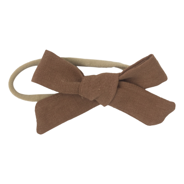 Linen Bow Headband - Rust