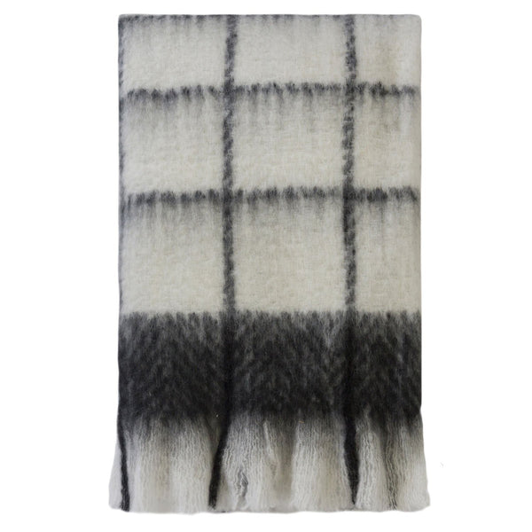 Kerridge Linen | Bliss Mohair Blend Throw BLK/WHT Check | Shut the Front Door