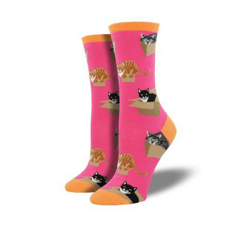 Socksmith | Socksmith Womens Cat in a Box Crew Socks Pink | Shut the Front Door