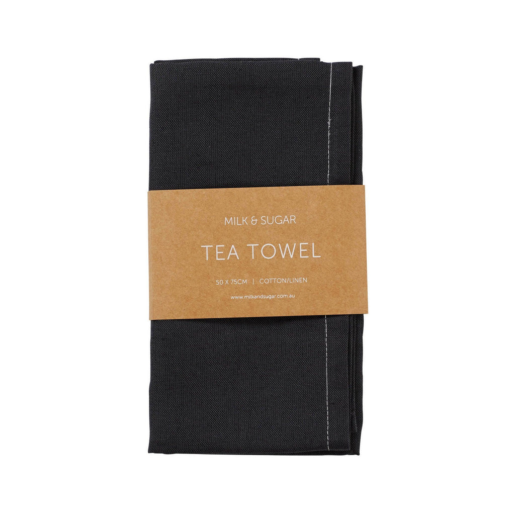 Milk & Sugar | Charcoal Cotton/Linen Tea Towel | Shut the Front Door