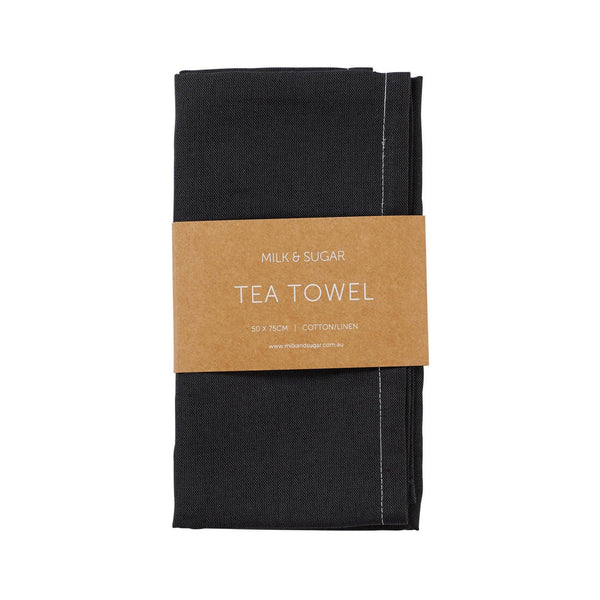 Milk & Sugar | Linen Tea Towel - Charcoal | Shut the Front Door