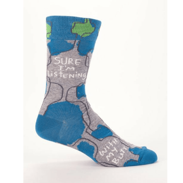 Blue Q | Men's Socks - Sure I'm Listening | Shut the Front Door