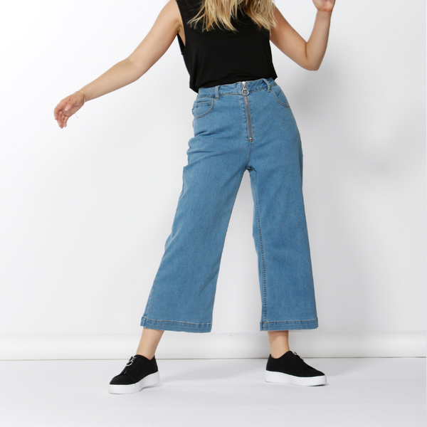 Betty Basics | Drew Wide Crop Jean VINTAGE BLUE | Shut the Front Door