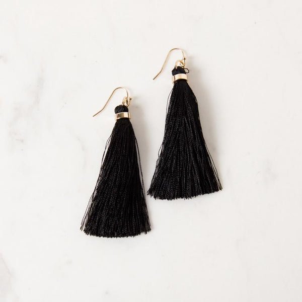 Adorne Pty Ltd | Long Tassel Hook Earring Black & Gold | Shut the Front Door