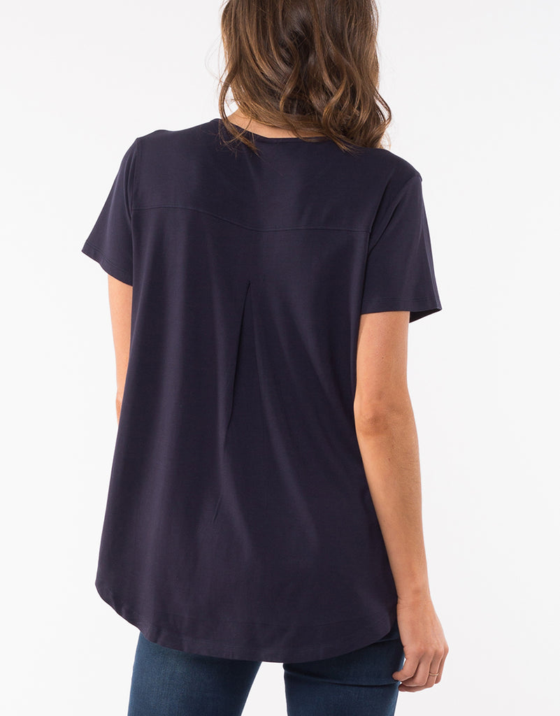 Elm Knitwear | Sierra Luxe Tee - Navy | Shut the Front Door