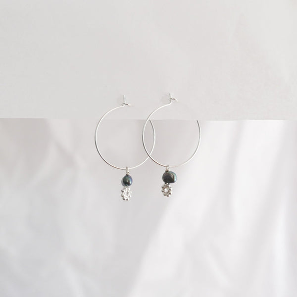 Hydrangea Ranger | Silver Hoops - Black Fresh Water Pearls & Flowers | Shut the Front Door