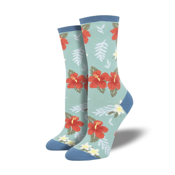 Socksmith | Women's Aloha Floral Socks - Sky Blue | Shut the Front Door