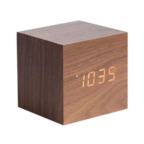 Karlsson | Alarm Clock Mini Cube Wood Dark | Shut the Front Door