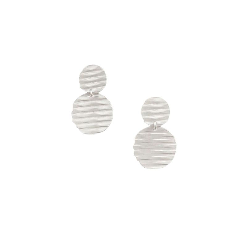 Tiger Tree | Earrings Ripple Double Disc Silver | Shut the Front Door