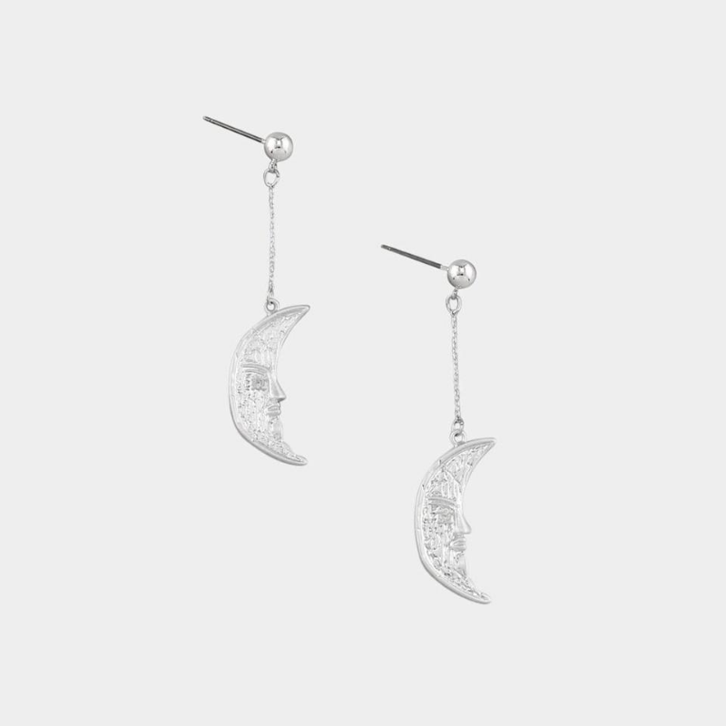 Tiger Tree | Swinging Moon Earrings Silver | Shut the Front Door