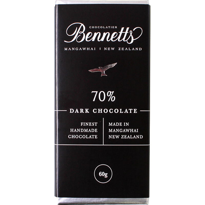 Bennetts Of Mangawhai | Bennetts 60g Bar Dark 70% | Shut the Front Door