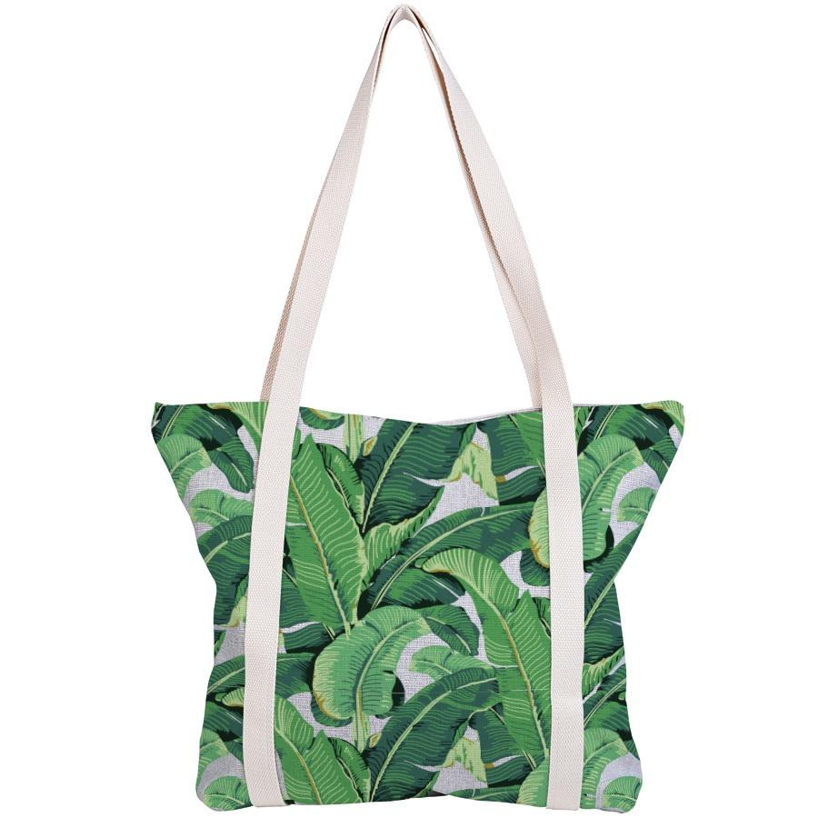 Escape to Paradise | Banana Leaf Natural Tote Bag | Shut the Front Door