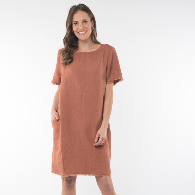 Elm Knitwear | Clay Dust Frayed Dress - Terracotta | Shut the Front Door