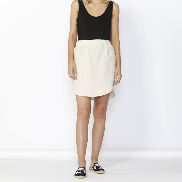 Betty Basics | Duke Linen Skirt Natural | Shut the Front Door