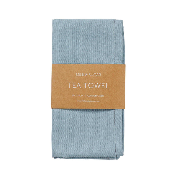 Milk & Sugar | Linen Tea Towel - Cadet Blue | Shut the Front Door