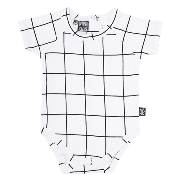 Kipp Kids | Onesie Short Sleeve White Check | Shut the Front Door