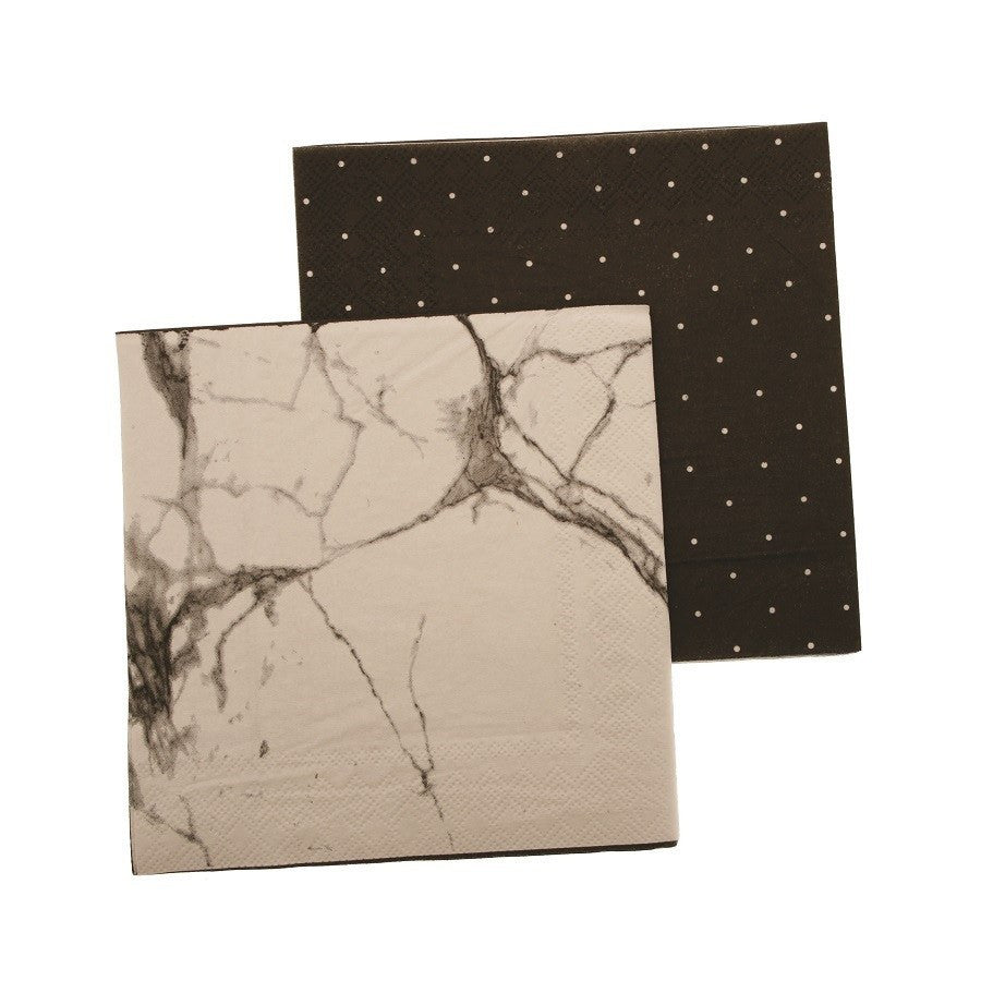 hiPP | Napkins 3ply Marble/ Black Pegboard | Shut the Front Door