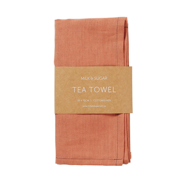 Milk & Sugar | Linen Tea Towel - Persimmon | Shut the Front Door