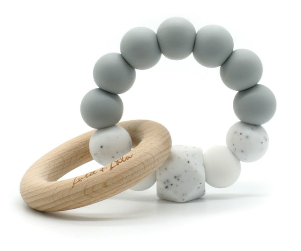 Lulu Lala | Lala Silicone and Beechwood Ring Teething Toy - Grey | Shut the Front Door