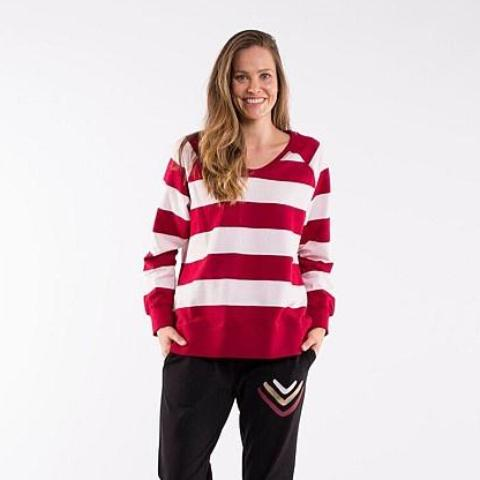 Elm Knitwear | August Sweatshirt - Berry/Pink Stripe | Shut the Front Door