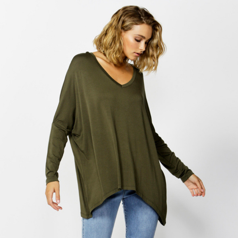 Betty Basics | Geneva V-Neck Top - Olive | Shut the Front Door