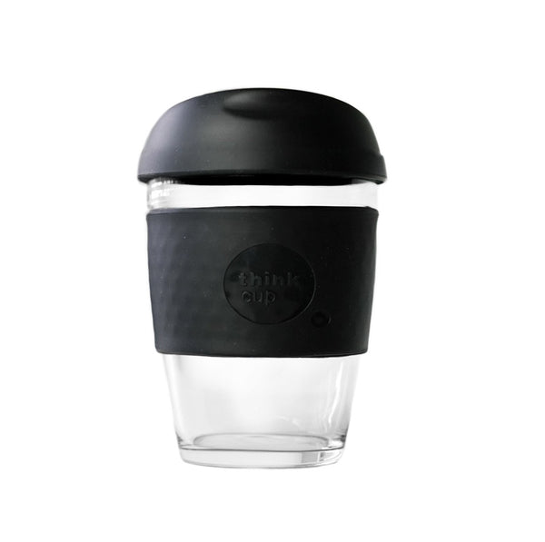 Think Cup | Think Cup Reusable Glass Coffee Cup - 12oz Black | Shut the Front Door