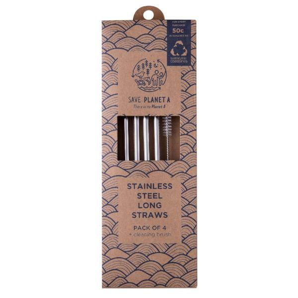 Save Planet A | Stainless Steel Reusable Long Straws | Shut the Front Door