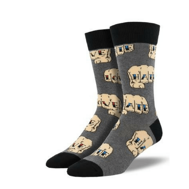 Socksmith | Socks Mens Love Hate Gray | Shut the Front Door